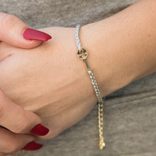 Second Chance Movement™ Silver Thin Paracord Bracelet With Gold Key Charm