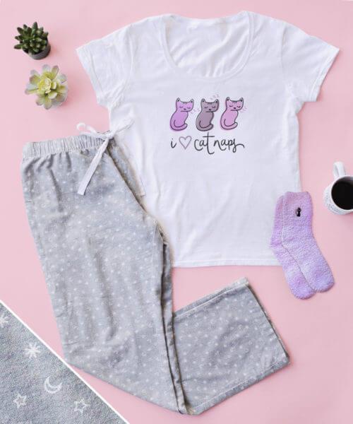 I Heart Cat Naps PJ Pant Set + FREE SOCKS
