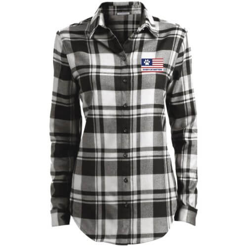 Every Cat Matters Flag Embroidered Ladies' Flannel Shirt