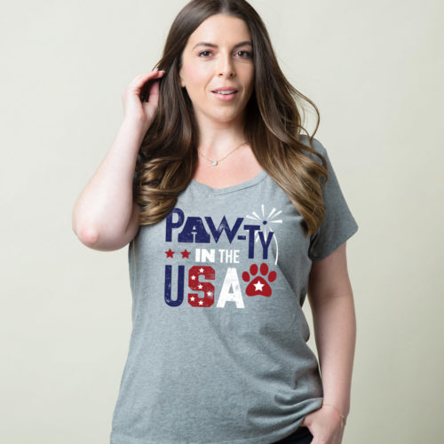 Pawty In The USA Relaxed Fit Heather Grey Tee