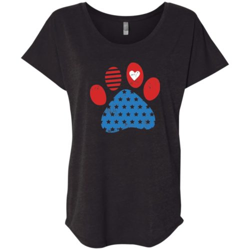 Star Spangled Paw Slouchy Black Tee