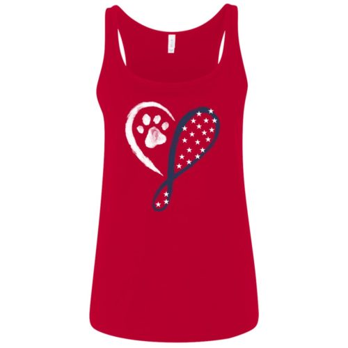 Elegant Heart Stars & Stripes Relaxed Fit Red Tank