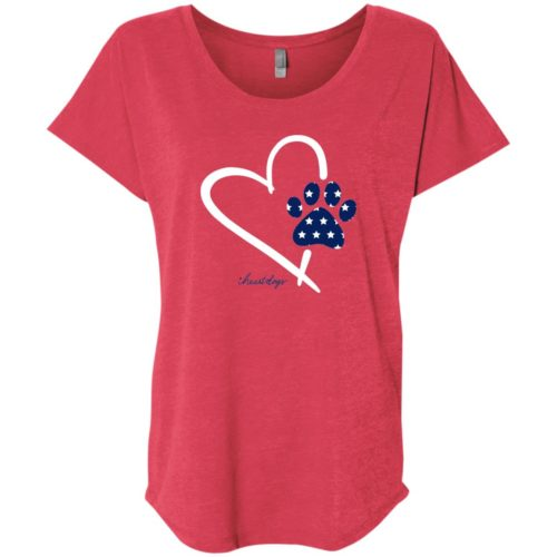 Paw In My Heart Slouchy Red Tee
