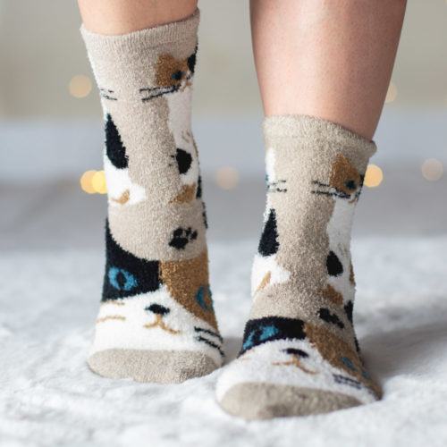 Warm 'n Fuzzy Calico Kitty Socks