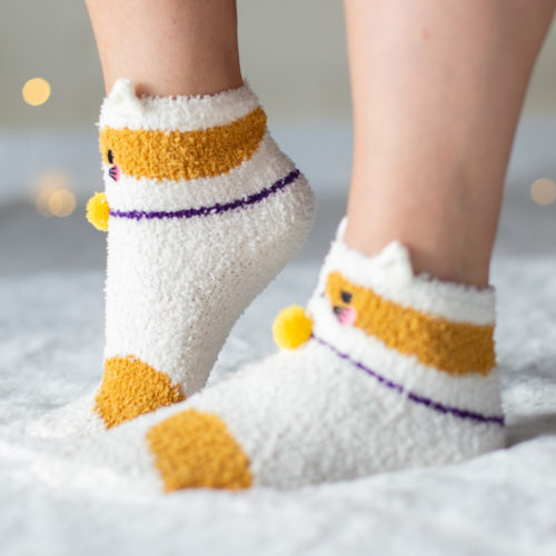 Warm 'n Fuzzy Gold Spots Kitty Socks