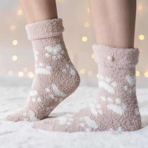 Warm 'n Fuzzy Tan Paw Socks