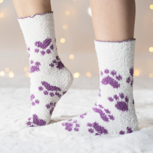 Warm n' Fuzzy Creme and Purple Paw Socks