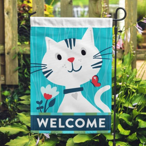 Welcome Kitty Garden Flag