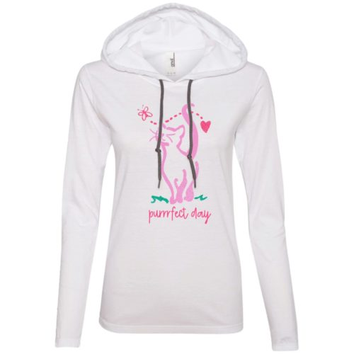 Purrrfect Day White Fitted T-Shirt Hoodie