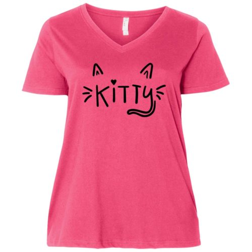 Happy Kitty Face Curvy Fit Pink V-Neck Tee