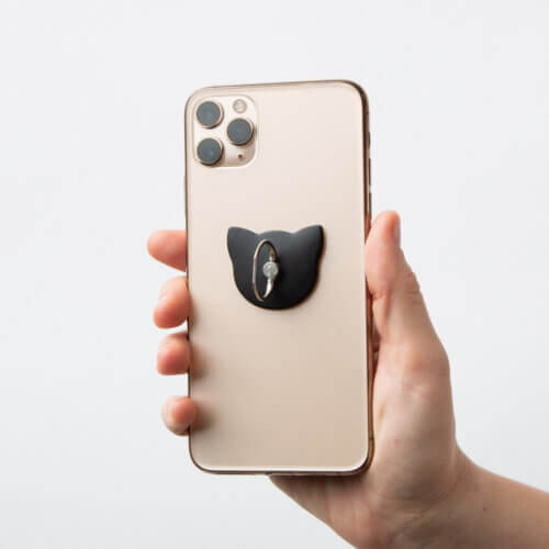 Cute Kitty Cell Phone Ring Grip Black