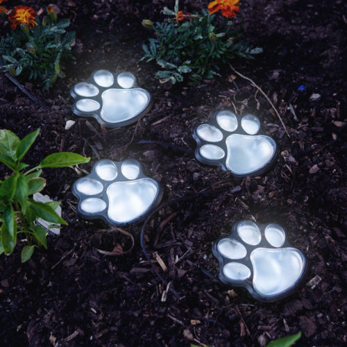 Path To My Heart Paw Prints Solar Garden Lights