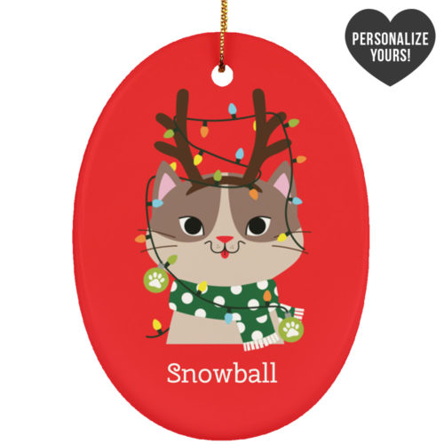 My Favorite Christmas Kitty Personalized Ceramic Oval Ornament