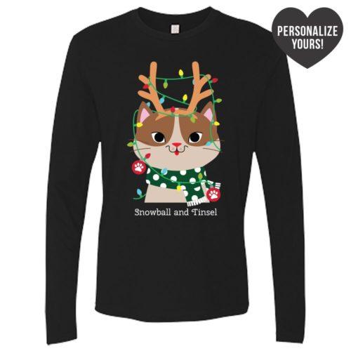 My Favorite Christmas Kitty Personalized Black Premium Long Sleeve Tee