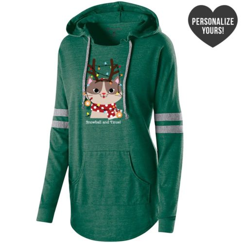 My Favorite Christmas Kitty Personalized Green Varsity Slouchy Hoodie