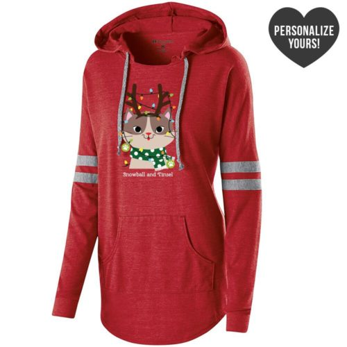 My Favorite Christmas Kitty Personalized Red Varsity Slouchy Hoodie