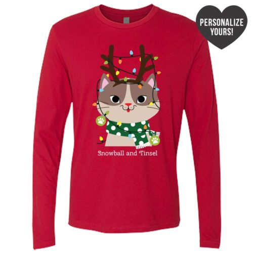 My Favorite Christmas Kitty Personalized Red Premium Long Sleeve Tee