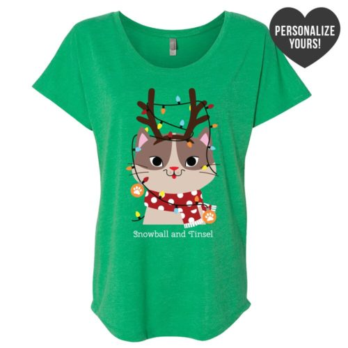 My Favorite Christmas Kitty Personalized Green Slouchy Tee