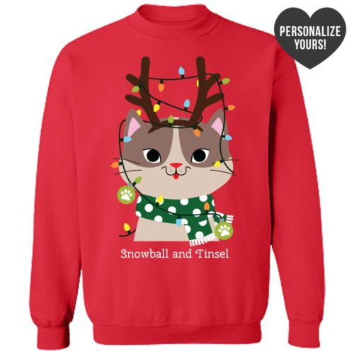 My Favorite Christmas Kitty Personalized Red Sweatshirt