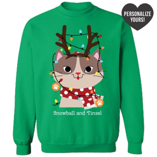 My Favorite Christmas Kitty Personalized Green Sweatshirt