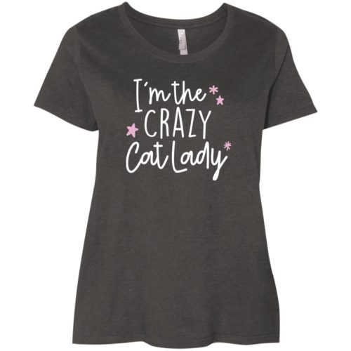 I'm The Crazy Cat Lady Curvy Fit Smoke Scoop Neck Tee