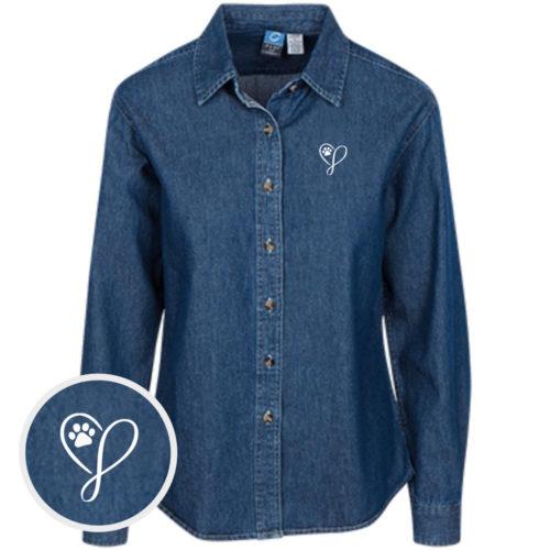 Elegant Heart Classic Women's Dark Blue Denim Shirt