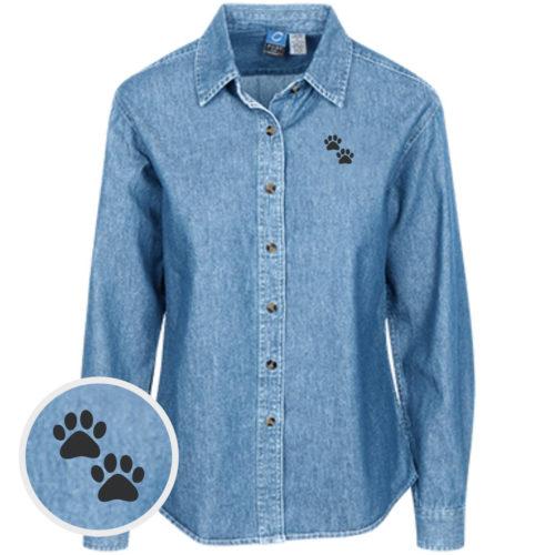 Two Paws Classic Women's Light Blue Denim Shirt