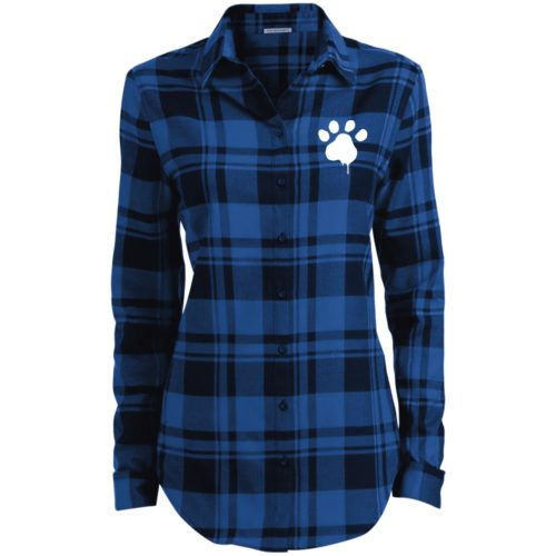 Watercolor Paw Embroidered Ladies' Flannel Shirt Long Sleeve