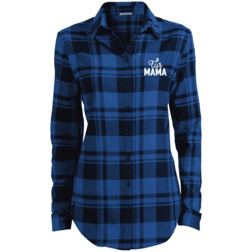 Fur Mama Embroidered Ladies' Flannel Shirt Long Sleeve