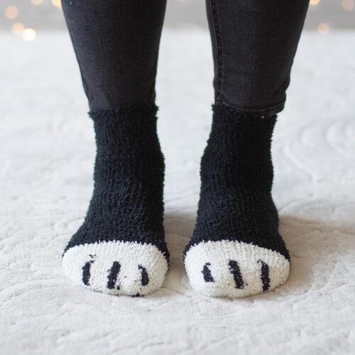 Warm n' Fuzzy Kitty Feet Socks- Black