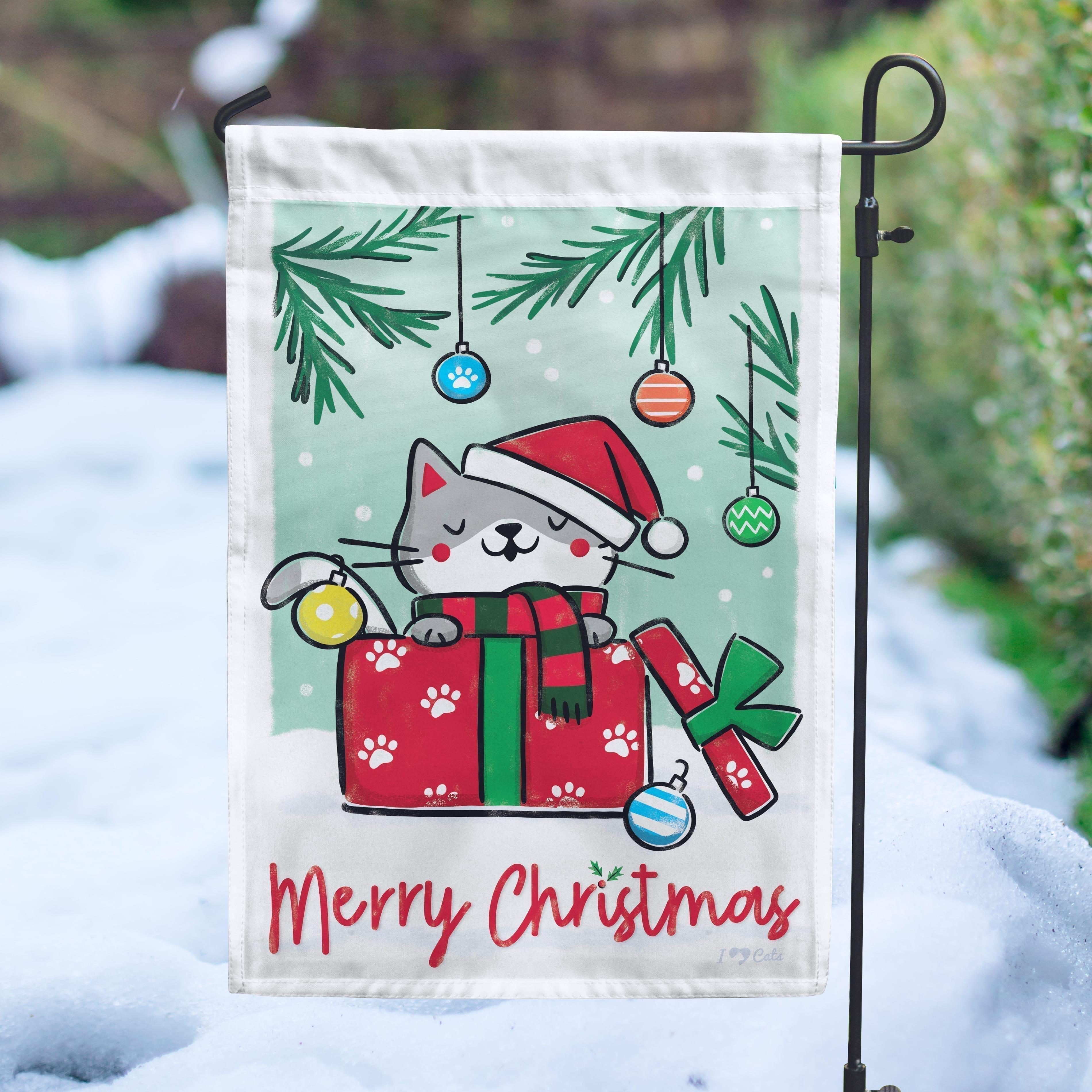 Merry Christmas Kitty Garden Flag-  Get 2 for $14.99!