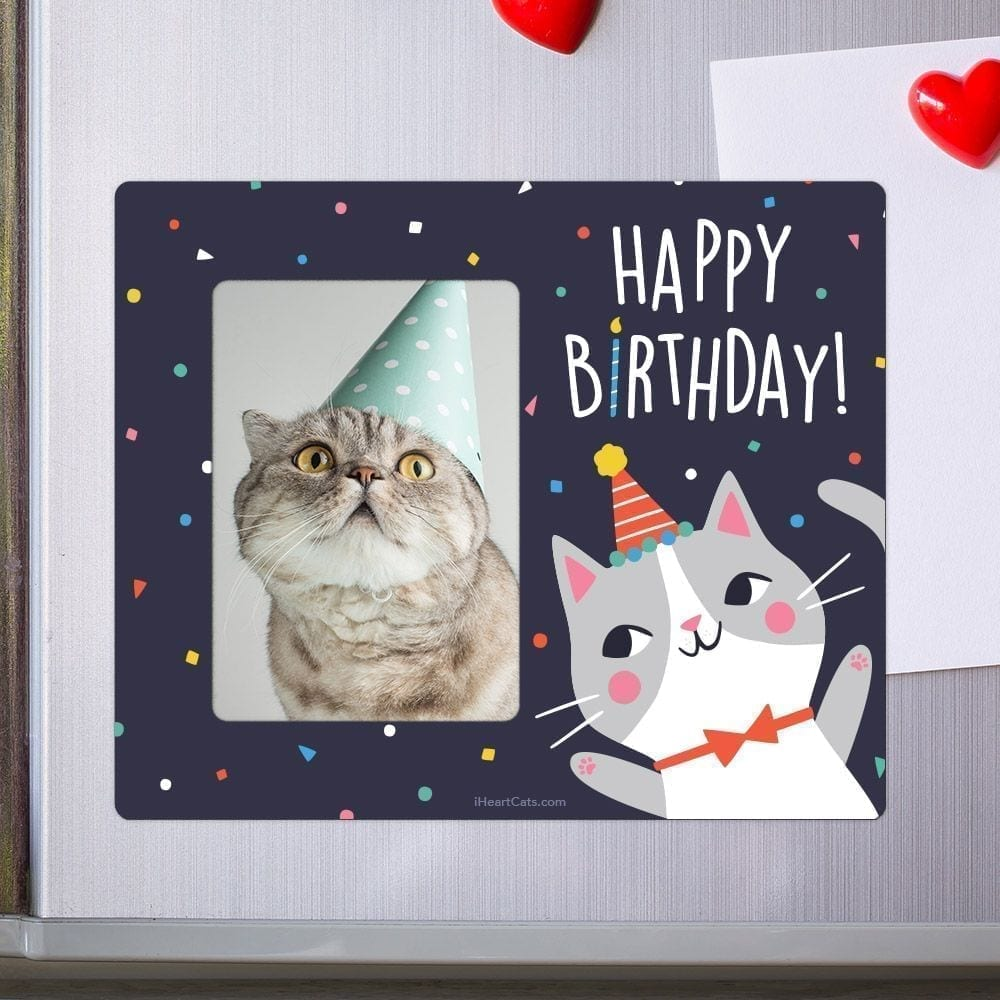 Birthday Kitty Picture Frame Magnet