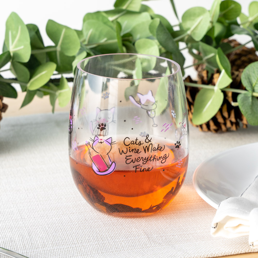Cat's & Wine Make Everything Fine Poolside 'n Patio Wine Cup