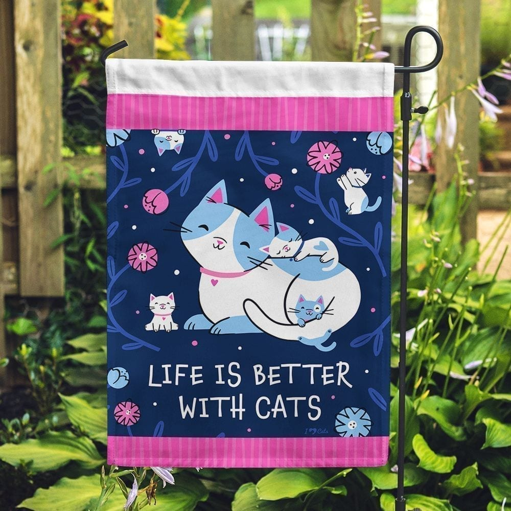 Life is Better with Cats Garden Flag