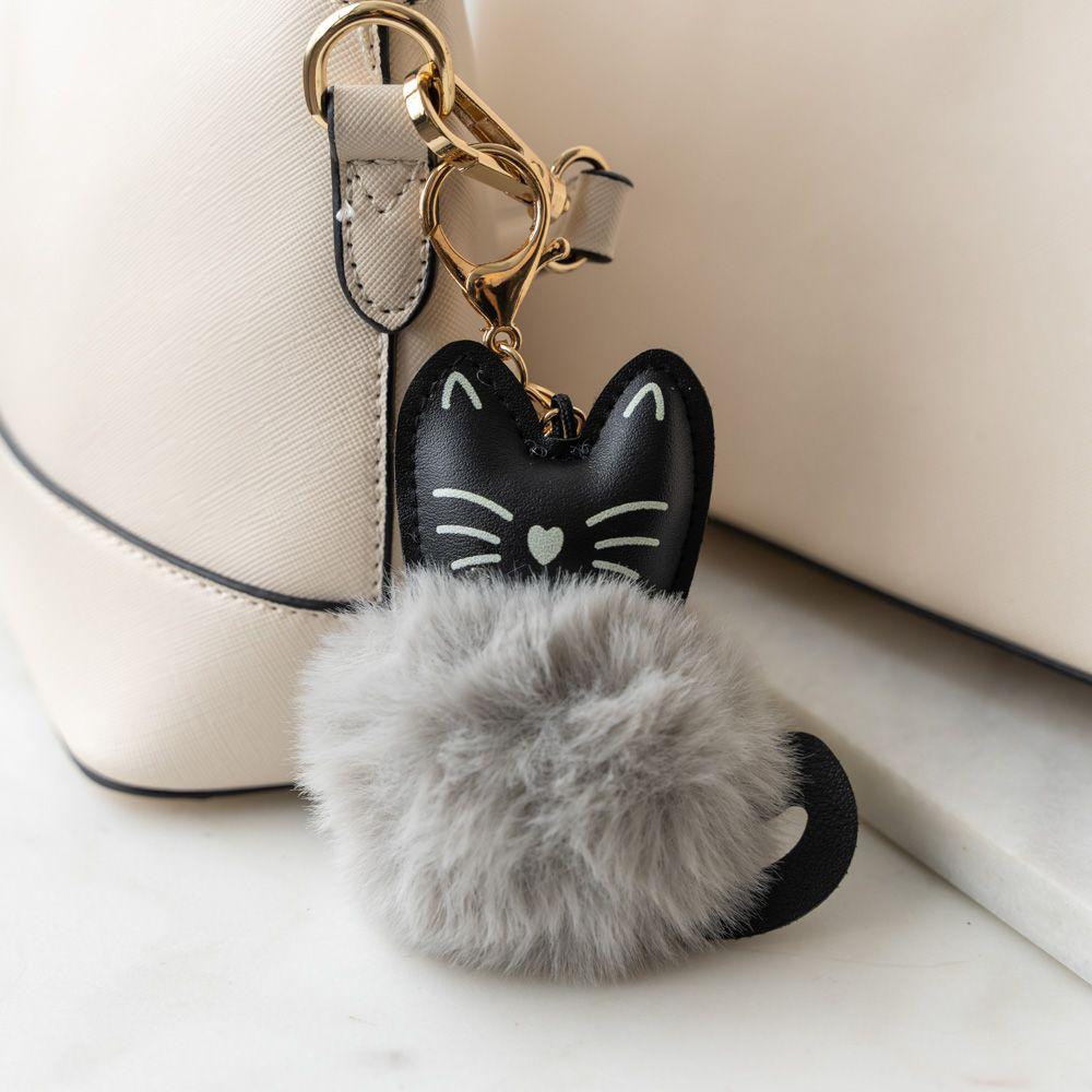 Cat Ear Faux Fur Pom Pom Key Chain - Grey