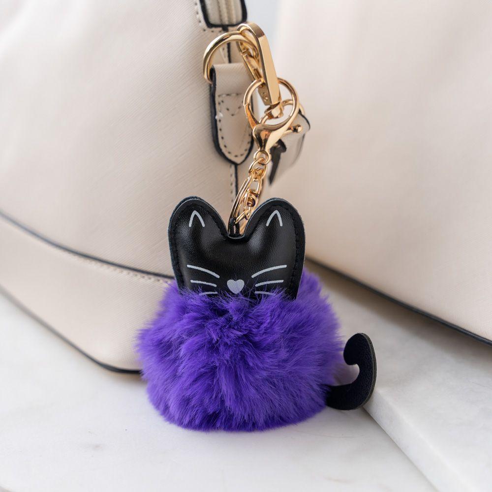 Cat Ear Faux Fur Pom Pom Key Chain - Purple