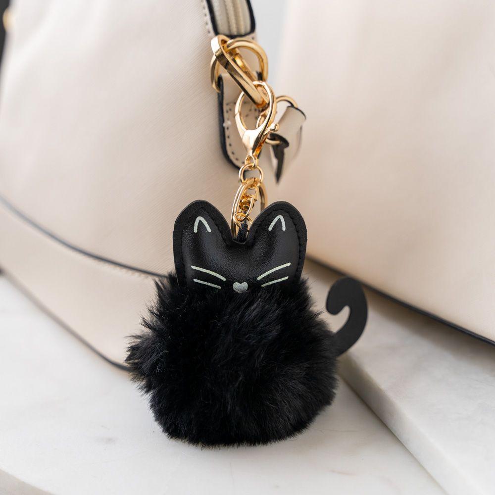 Cat Ear Faux Fur Pom Pom Key Chain - Black