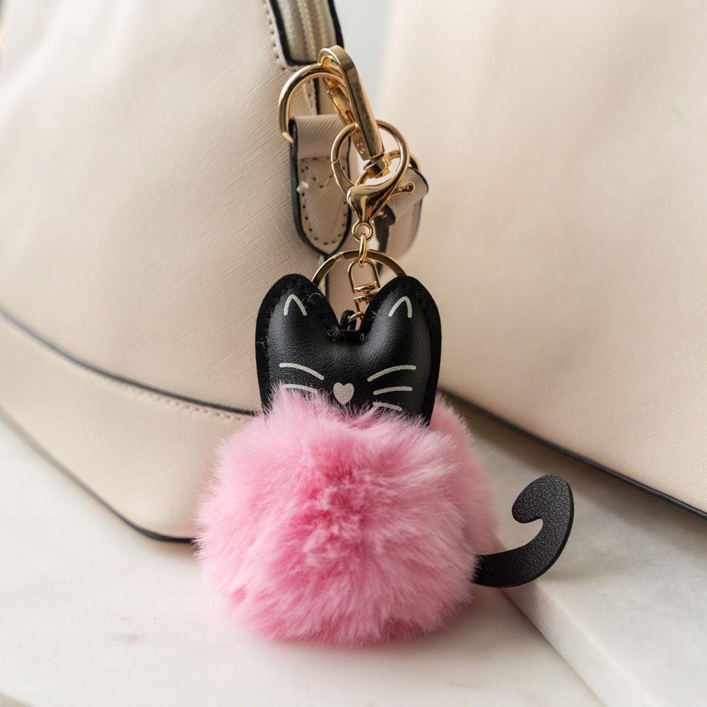 Cat Ear Faux Fur Pom Pom Key Chain - Pink
