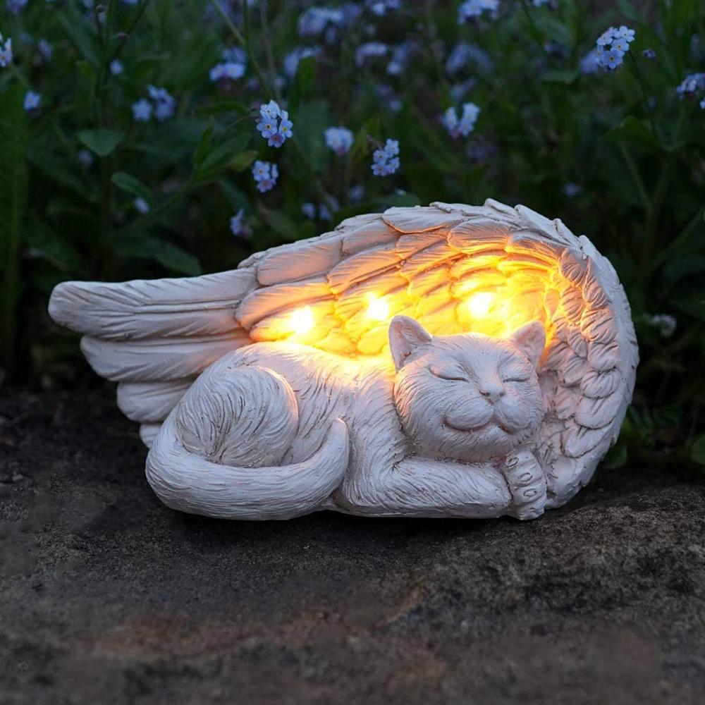 Forever My Guardian Angel Cat Garden Solar Light