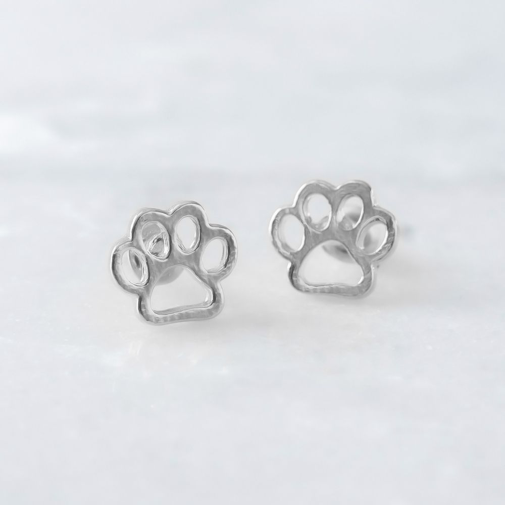 Paw Print Earrings- Silver