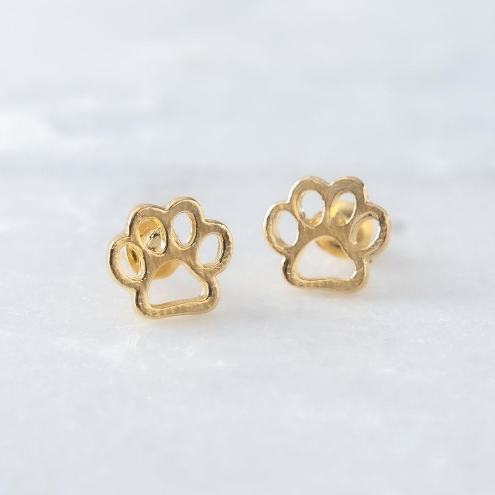 Paw Print Earrings- Gold