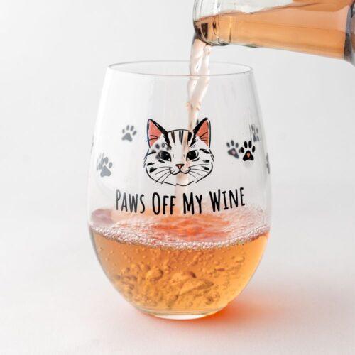 Paws Off My Wine Stemless Glass -20 oz