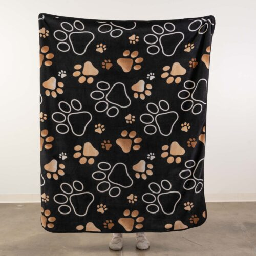 """Give Warmth™️ Buy One Give One Fleece Blanket: Mocha Paw Prints 60″x 50"""""""