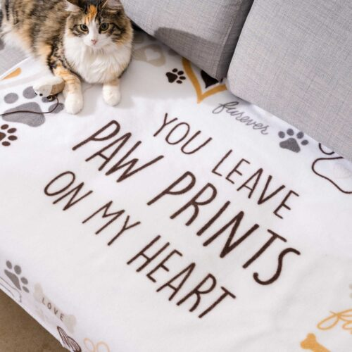 """Give Warmth™️ Buy One Give One Fleece Cat Blanket: You Leave Paw Prints on My Heart 30″ x 40"""""""